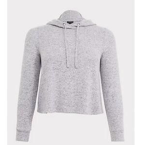 Torrid Super Soft plush light grey midi hoodie